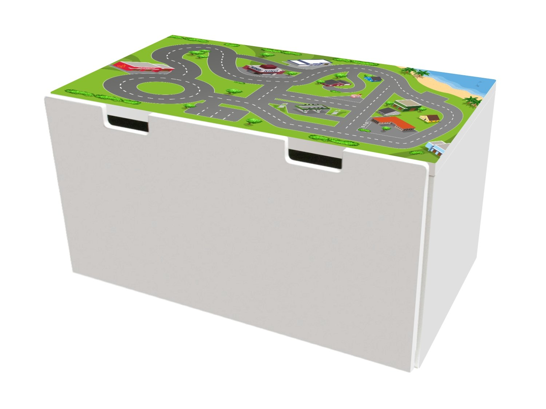 Stadt Möbelfolie | BTD01 | Möbelaufkleber mit Straßen-Motiv | passend für die Kinderzimmer Banktruhe STUVA von IKEA (90 x 50 cm) | Möbel Nicht Inklusive | STIKKIPIX