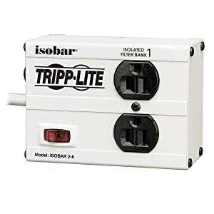 Tripp Lite Isobar 2 Outlet Surge Protector Power Strip, 6ft Cord, Right-Angle Plug, Metal, Lifetime Limited Warranty & $25,000 INSURANCE (ISOBAR2-6)