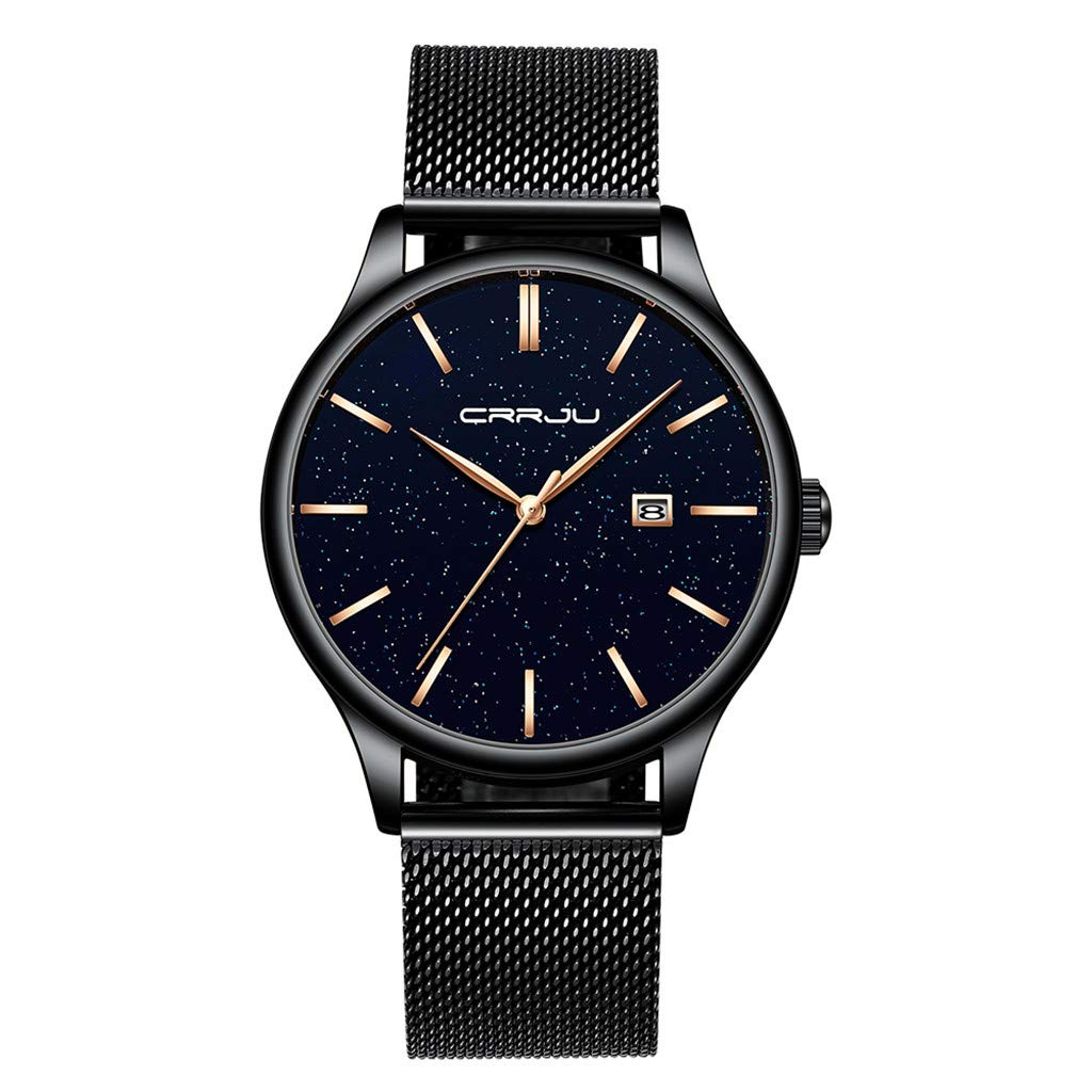 Starry Dial Business Fashion Without Digital Mesh Men'sQuartz Casual Simple Chronograph Watch by CHLZYD