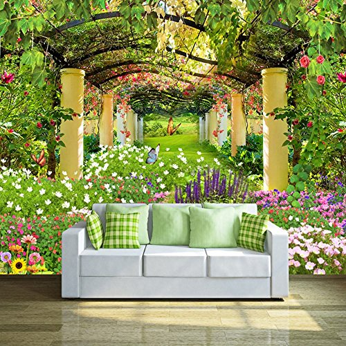 Wall Mural 3D Beautiful Garden With Floral Spring Scenery Mural