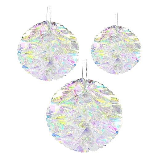 flores para bodas baby shower suministros de fiesta de cumplea/ños JYCRA Decoraci/ón colgante de panal iridiscente para colgar en el techo