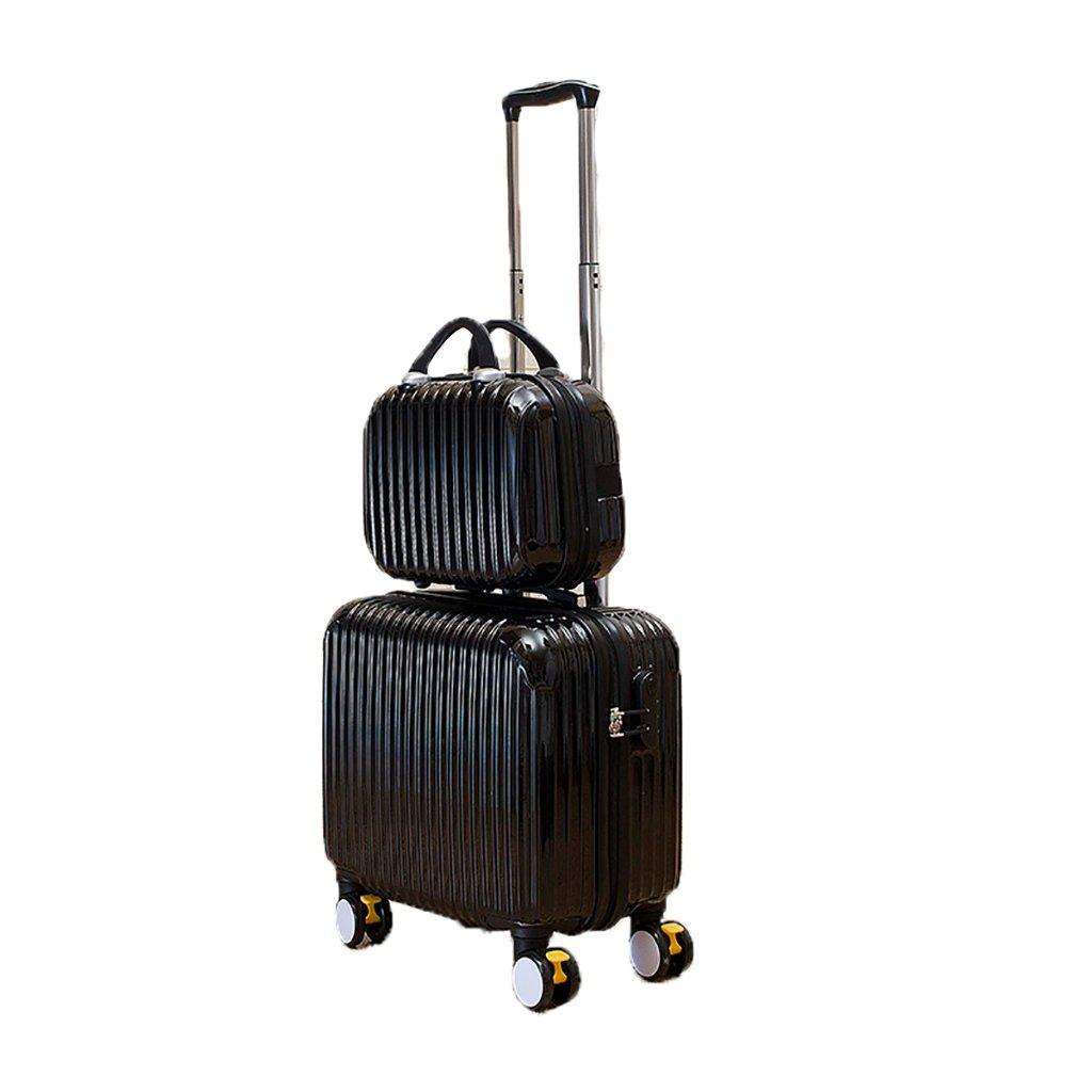 スーツケース トロリーケース4輪5色出張旅行アウトドアトロリーバッグ大容量トラベルバッグドラッグバッグハンドバッグトランク旅客ボックス18inch (色 : Black)   B07FS743BZ