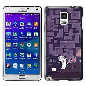 GOODTHINGS Funda Imagen Diseño Carcasa Tapa Trasera Negro Cover Skin Case para Samsung Galaxy Note 4 SM-N910F SM-N910K SM-N910C SM-N910W8 SM-N910U SM-N910 - científico de laboratorio arte de la historieta experimento loco