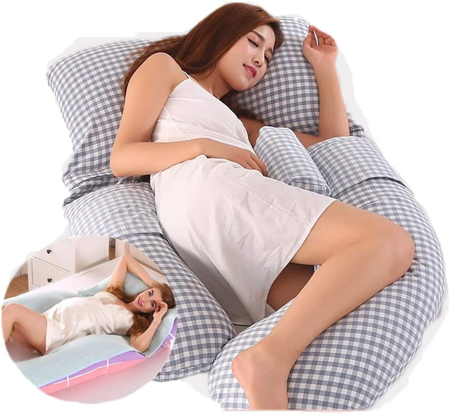 EVR Almohadas para el Embarazo Forma de G Cuerpo Completo Almohada Almohada Ultra Suave con Funda Extraíble con Almohadilla de Enfriamiento,06,170x80x20cm