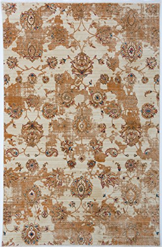 Antep Rugs ORIENTAL WAVE Collection KAYI Floral Area Rug IVORY 4'1