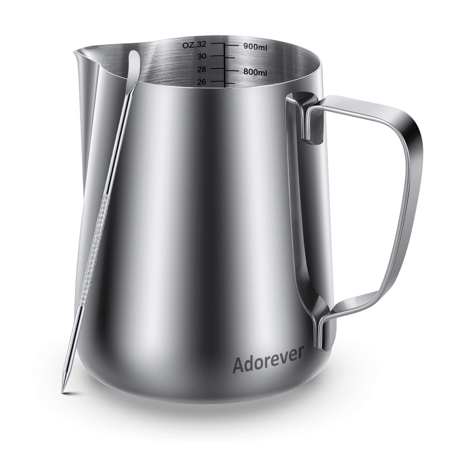 Milk Frothing Pitcher 900ml/32oz Steaming Pitchers Stainless Steel Milk Coffee Cappuccino Latte Art Barista Steam Pitchers Milk Jug Cup with Decorating Art Pen, Sliver by Adorever