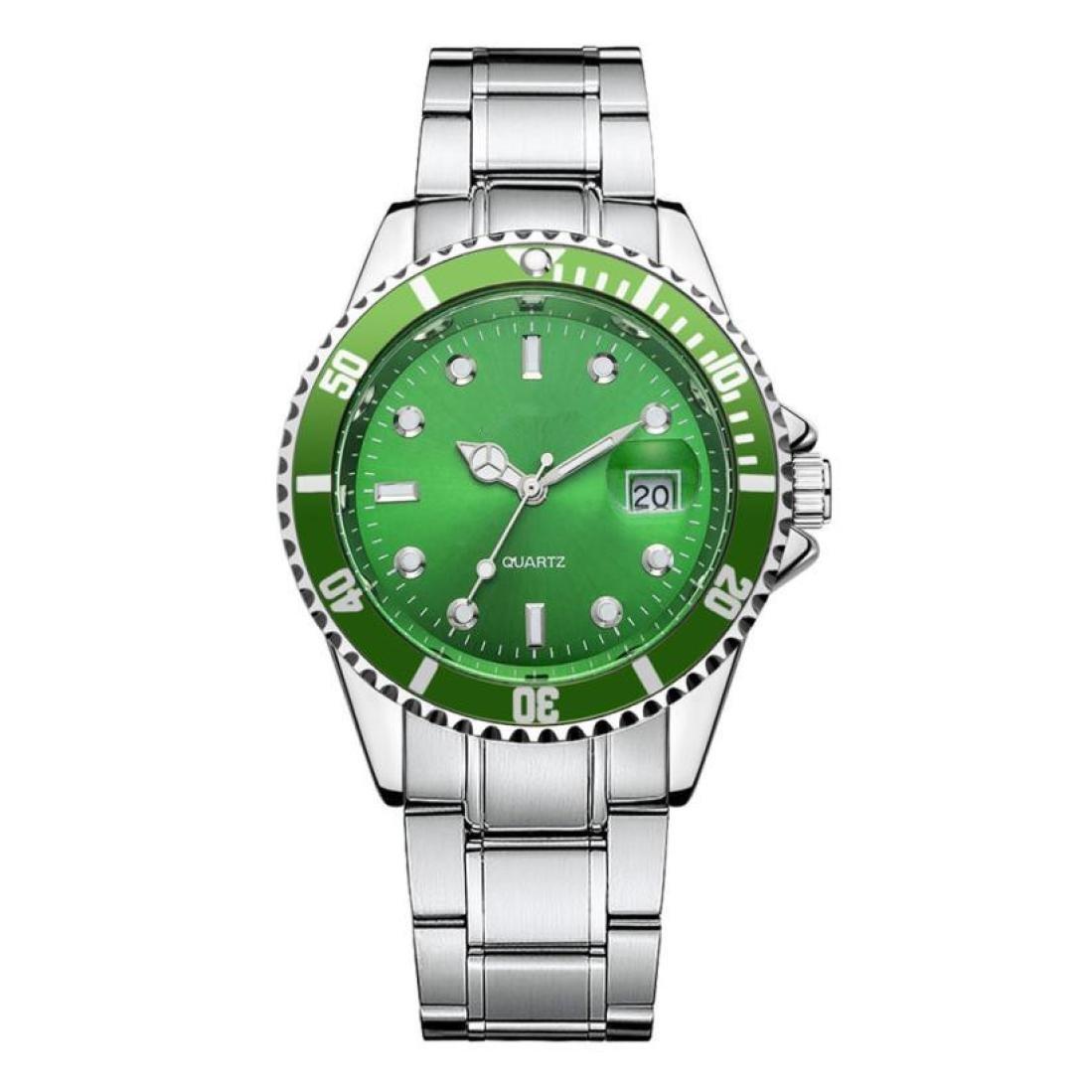 Reloj de calendario cuarzo analógico retro para hombre, QinMM reloj de negocios de acero inoxidable (Verde): Amazon.es: Relojes