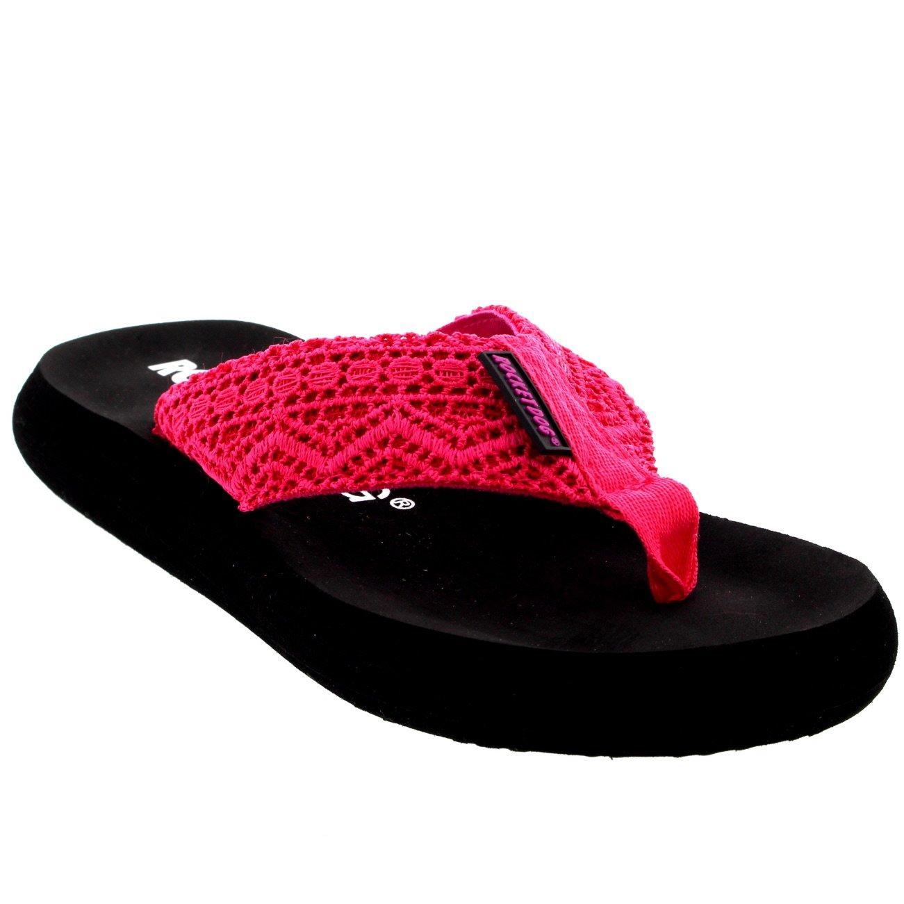 Rocket Dog Womens Spotlight Lima Crochet Sandals Beach Summer Flip Flops US - Pink - 6