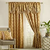 Cheap DANCE WITH WIND. Jacquard window curtain panel drape with attached fancy valance. 2pcs set. Each pc 54″ wide x 84″ drop with 18″ valance. (BRONZE)