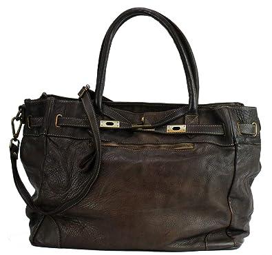 da345c2c30253 BZNA Bag Mila Braun moro vintage Italy Designer Business Damen Handtasche  Ledertasche Schultertasche Tasche Leder Shopper