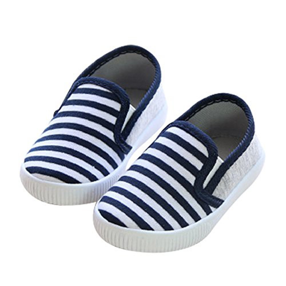YING LAN Litter Kids Striped Slip-On Outdoor Leisure Breathable Canvas Shoe Blue