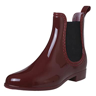 e81f9a51e9d9 Womens Rain Boots Rubber Short Ankle Wellies wellington Pull On Garden   Amazon.co.uk  Clothing
