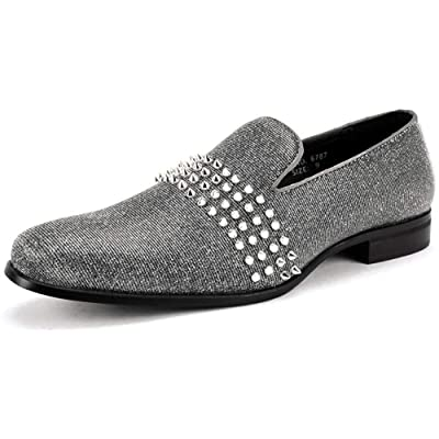 Amazon.com | AFTER MIDNIGHT 6787 Smoking Slipper with Spike Studs - Velvet Smoker | Loafers & Slip-Ons