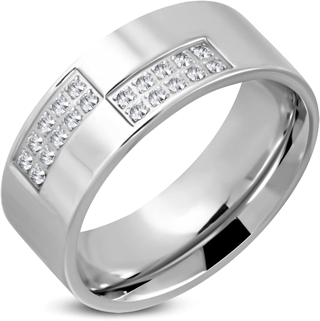 Stainless Steel Semi Pave-Set Comfort Fit Wedding Flat Band Ring with Clear CZ