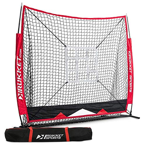 Rukket 5x5 Baseball & Softball Net | Practice Hitting, Pitching, Batting and Catching | Backstop Screen Equipment Training Aids | Strike Zone Target (5x5 Net + Target) (Strength Training For 13 Year Old Boy)
