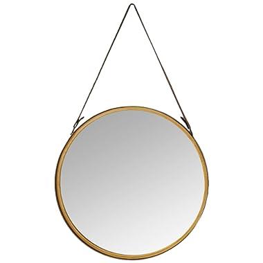 Deco 79 98730 Round Metal Wall Mirror, Gold/Black