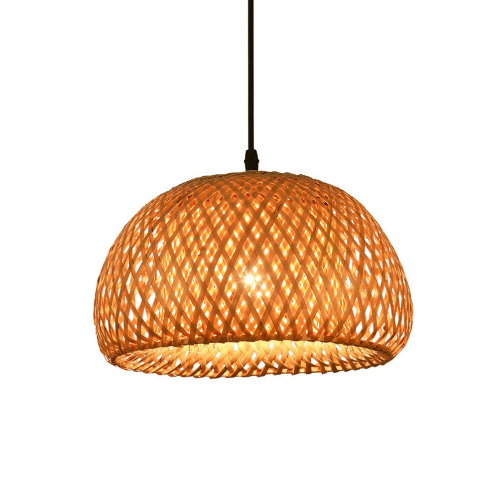 CGJDZMD Vintage Wood Spherical Hollow Single Head E27 LED Chandelier Pendant Light Antique Hand Woven Bamboo Ceiling Lamp Restaurant Dining Room Club House Ceiling Lighting Fixtures