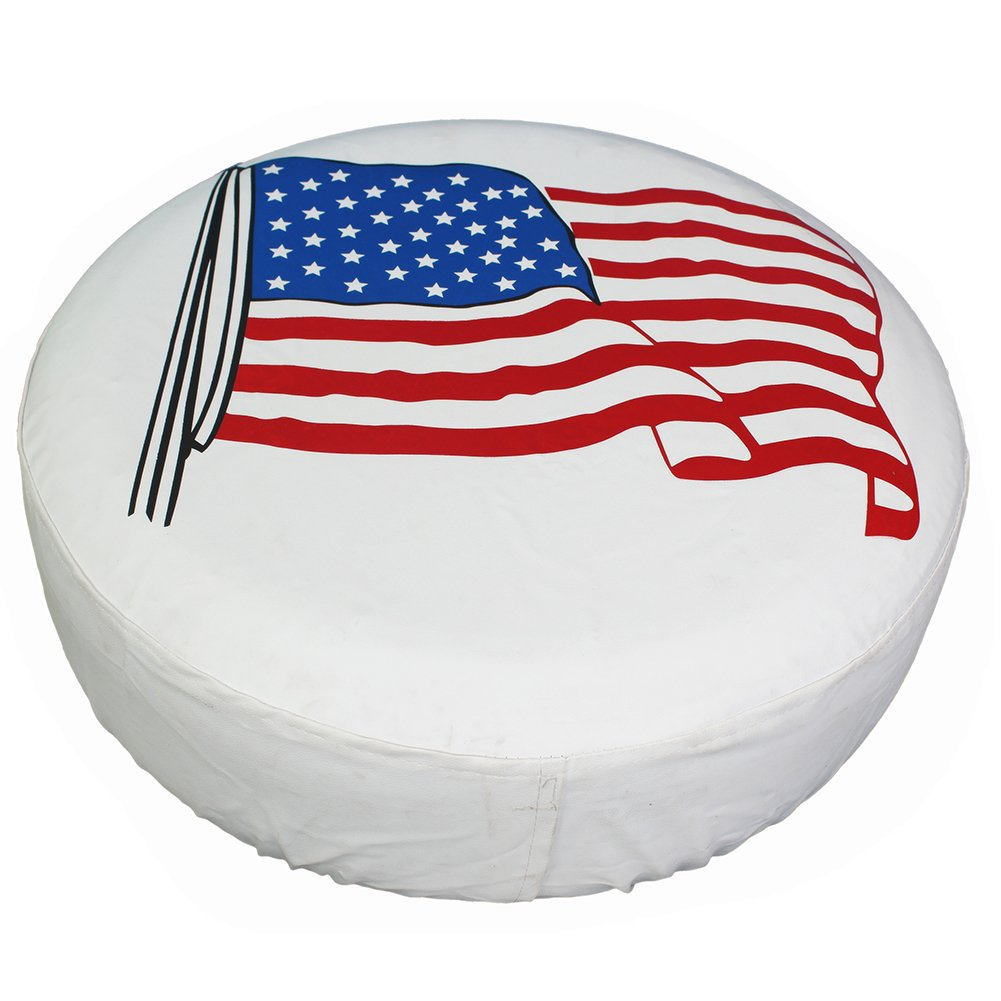 Spare Tire Cover 17 inch American Flag White Waterproof Universal Wheel Tire Covers for RV Jeep Trailer Honda CRV Toyota RAV4 SUV Camper (17'' for diameter 31''-33'') by Tsofu (Image #6)