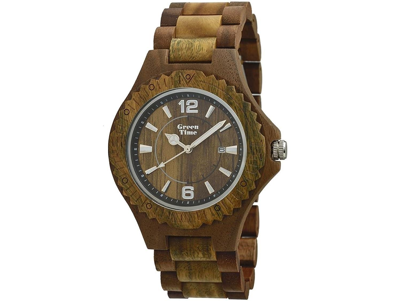 Greentime Armbanduhr aus Holz Sandelholz und Walnuss zw057 a