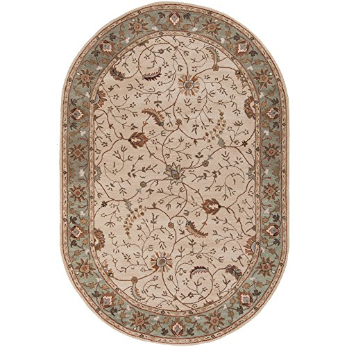Surya Caesar CAE-1088 Classic Hand Tufted 100% Wool Dark Olive Green 6' x 9' Oval Traditional Area Rug (Rug Burnt Wool Sienna)