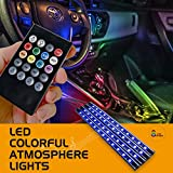 #5: Lackingone Car LED Strip Light,48 LED Multicolor Music Car Interior Lights Under Dash Lighting Waterproof Kit with Sound Active Function and Wireless Remote Control Car Charger Included