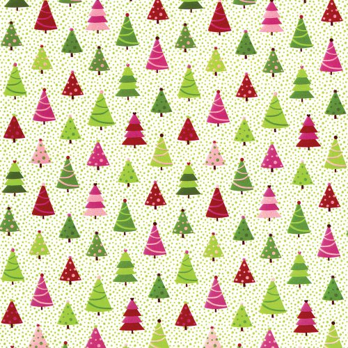 Entertaining with Caspari Continuous Roll of Gift Wrapping Paper, Calico Trees, 8-Feet, 1-Roll