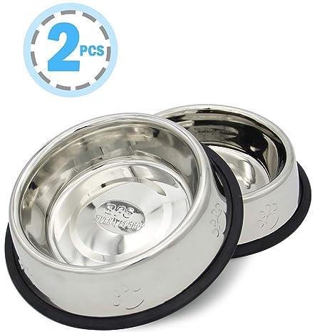 BPS 2X Comedero Bebedero Acero Inoxidable para Perro Gato Mascotas Diámetro 3 Tamaños para Elegir 15.5/18/19 cm BPS-5501 BPS-5502 BPS-5503 16.6cm ...