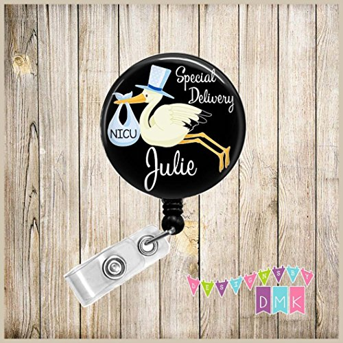 Delivery Gift Stork (Special Delivery Blue Stork on Black - PERSONALIZED - Button Badge Reel)