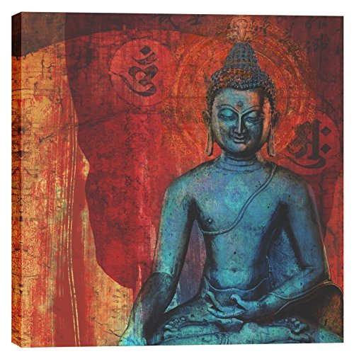 """Blue Buddha"""" by Elena Ray Graphic Art on Canvas Size: 18"""" H x 18"""" W x 0.75"""" D EPIC-CA1818249"""