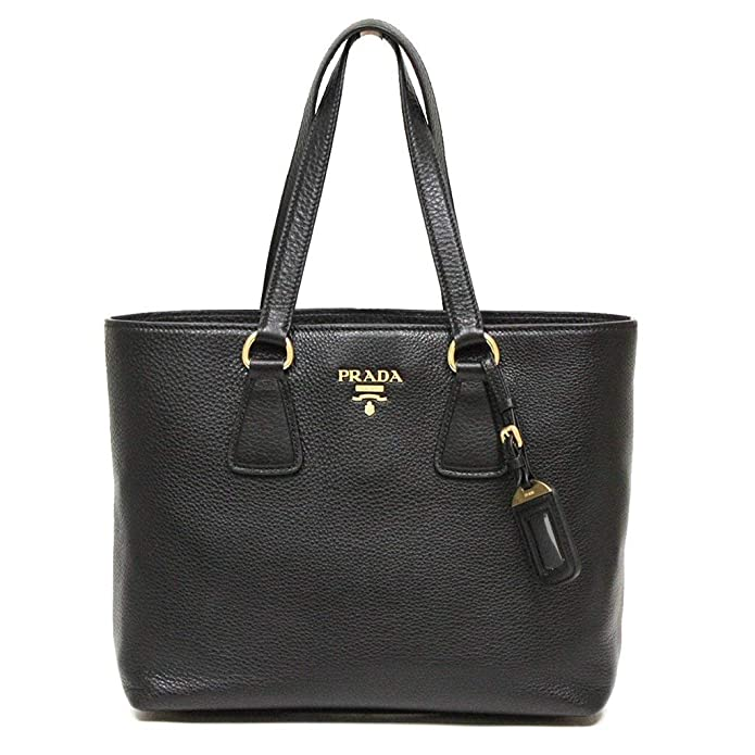 cfe1635c2ecd Amazon.com  Prada Vitello Phenix Black Leather Shopping Tote Handbag  1BG043  Shoes