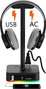 RGB Headphone Stand with USB Charger KAFRI Desk Gaming Headset Holder Hanger Rack with 1 USB Charging Port and 2 Outlet - Suitable for Gamer Desktop Table Game Earphone Accessories Boyfriend Gift