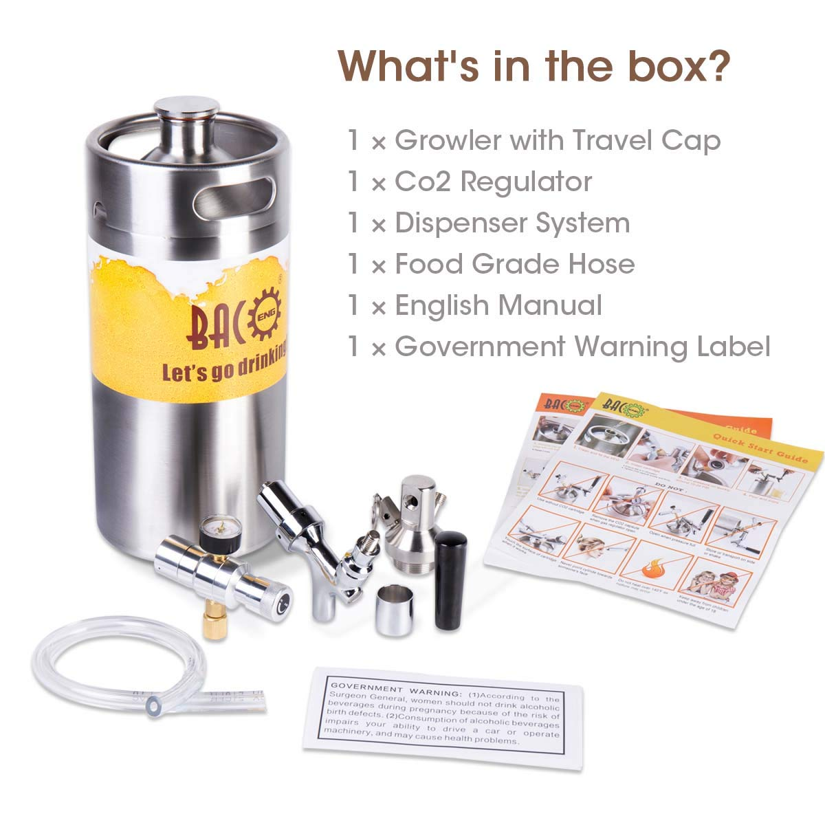 BACOENG 128 Ounce Pressurized Keg Growler, Kegerator for Home Brew Beer with Updated CO2 Regulator by BACOENG (Image #6)