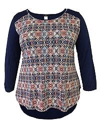 LEEBE Plus Size Long Sleeve Printed Shirttail
