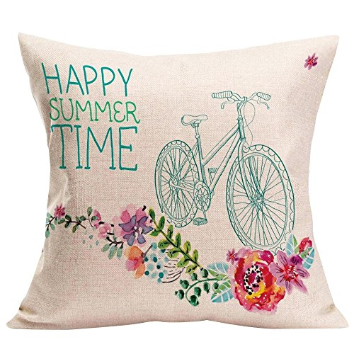 Mysky Home Decor Cushion Cover Happy Sunmer Time Throw Pillowcase Pillow Covers