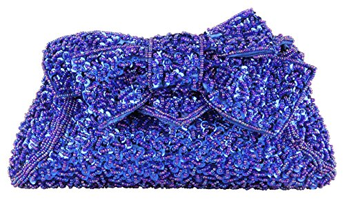 Grace Angel Women's Full Sequins Hand Beaded Bow Prom Evening Handbag Bridal Clutch GAF520 by Grace Angel