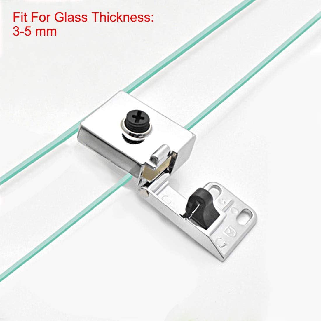 sourcing map Bisagra abrazadera para cristal vidrio de alacena armario puerta vitrina de 3-5 mm de grosor 1PAR