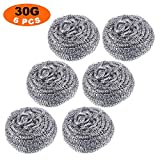 LURICO 6 Pack Stainless Steel Sponges (30g) Stainless Steel Scrubber, Scrubbing Scouring Pad, Steel Wool Scrubber, Metal Scouring Pads, Stainless Steel Scourer Pot Brush for Kitchens, Bathroom etc