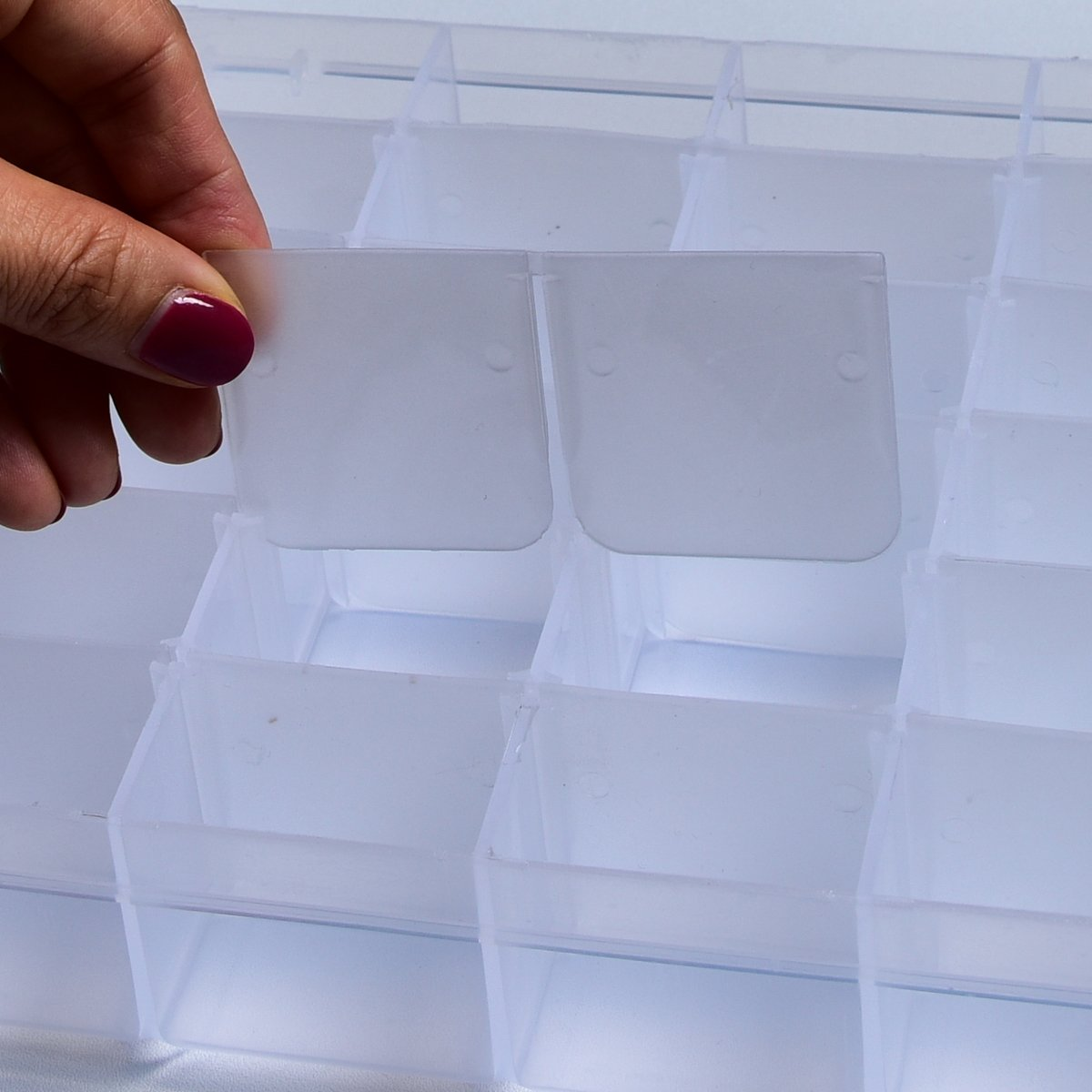 Jewelry Organizers and Storage, Plastic Earring Storage Containers with 36 Grids Adjustable Dividers