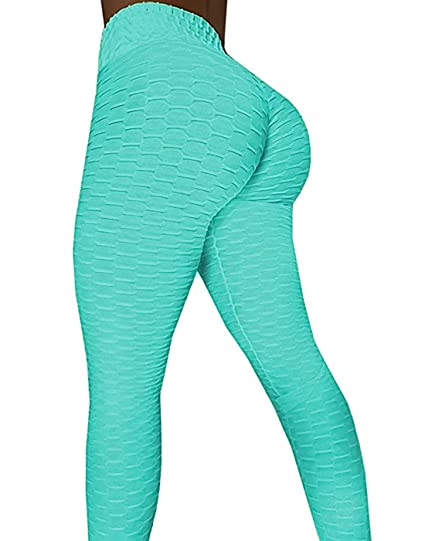 679ff9f979b3 AGROSTE Women s High Waist Yoga Pants Tummy Control Workout Ruched Butt  Lifting Stretchy Leggings Textured Booty