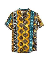 Banstore African Dashiki Cotton Shirt Unisex Tribal Festival Boho Hippie Kaftan Beach Casual Shirt Henleys