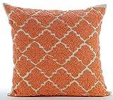 "Designer Orange Pillow Shams, Lattice Trellis Beaded Moroccon Theme Pillow Shams, 24""x24"" Pillow Shams, Square Cotton Linen Shams, Art Deco Pillow Shams - Orange Medallion"