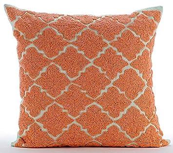 Orange Throw Pillows Cover for Couch, Lattice Trellis Beaded Moroccon Theme  Pillows Cover, 16\