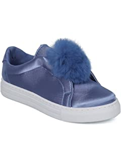 d7684098fc05 Alrisco Women Mixed Media Pom Pom Slip On Low Top Sneaker HC90