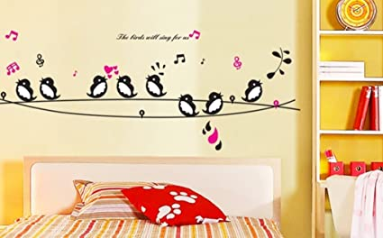Decals Design Cute Singing Birds Wall Sticker (PVC Vinyl, 50 cm x 70 cm, Multicolour)