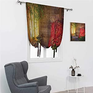 """GugeABC Blackout Curtains Garden Room Darkening Roman Shades Japanese Stone Lantern and Red Maple Tree in an Autumnal Zen Garden Bamboo Trees 42"""" Wide by 72"""" Long Multicolor"""