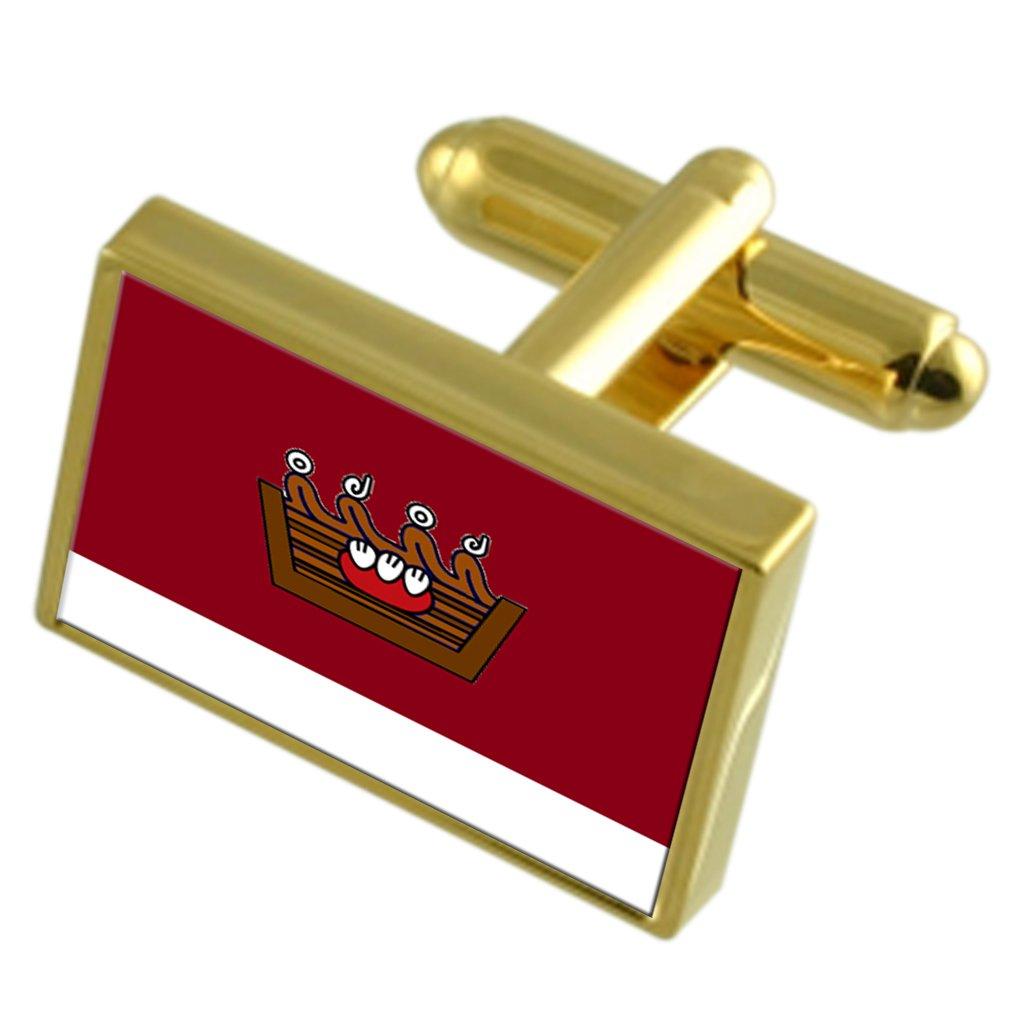 Autlan City Mexico Gold-tone Flag Cufflinks Engraved Box