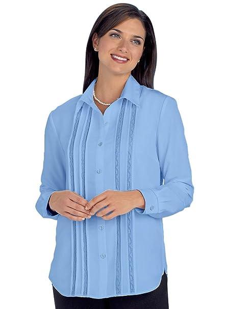 6d038878244041 AmeriMark Tucks & Lace Blouse Blue at Amazon Women's Clothing store: