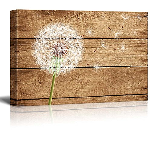 Artistic Abstract Dandelion on Vintage Wood Background
