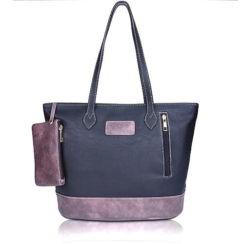 ZMSnow Designer PU Leather Tote Handbag Shoulder Mix Color Bag for Women Girl Work School