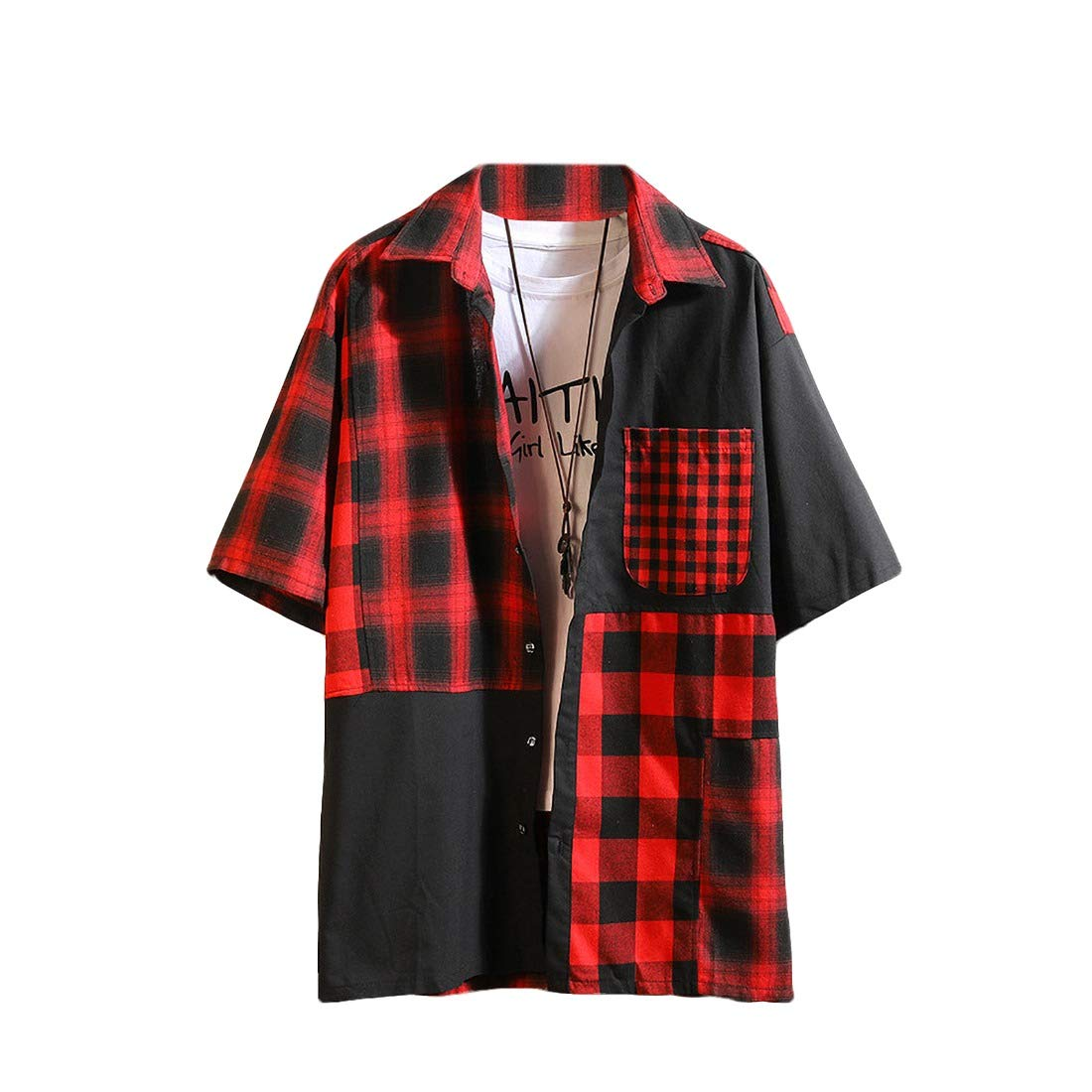 Coolred-Men Casual Work Plus Size Loose Fit Spliced Plaid Short Sleeve Shirt